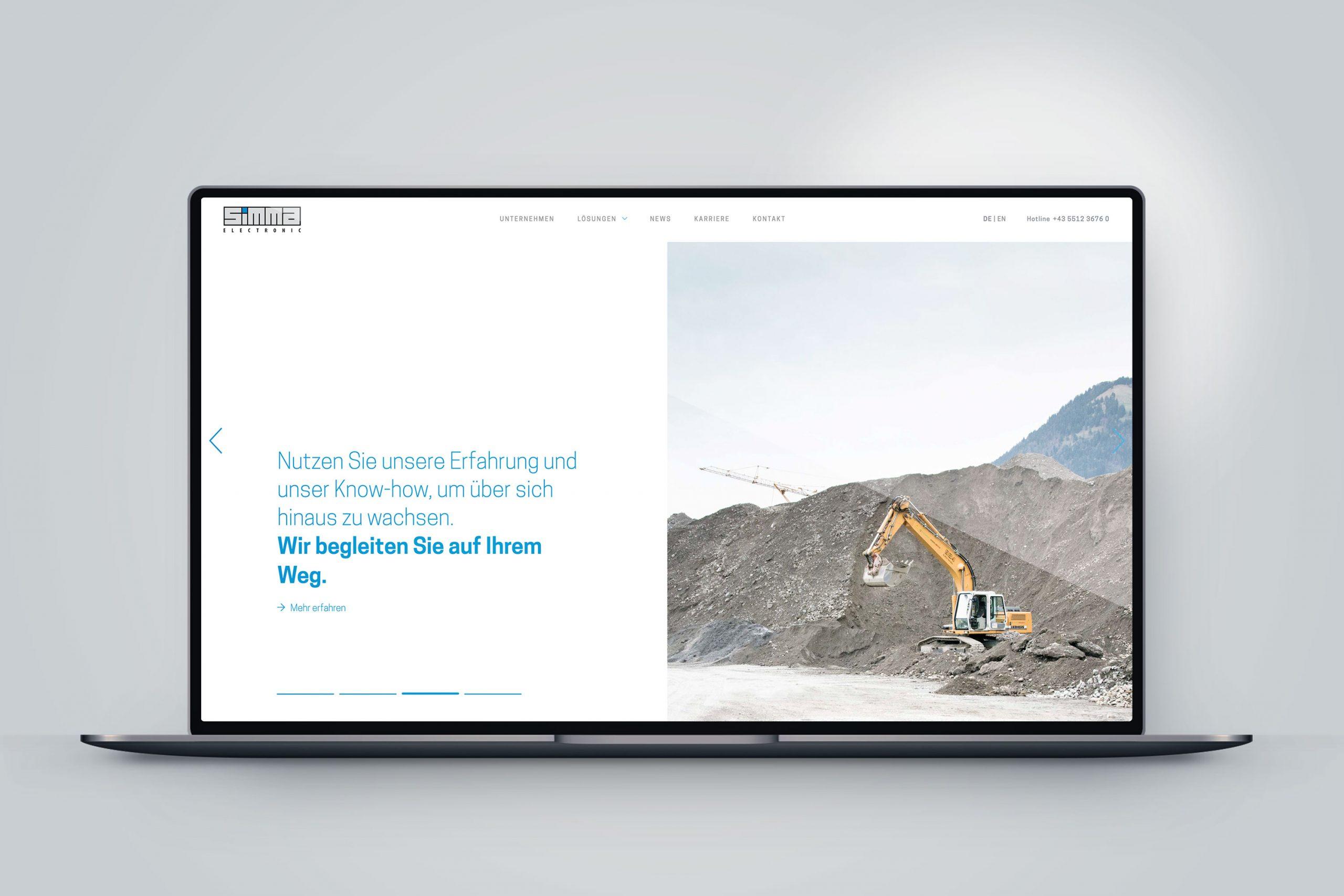 Startseite –Mockup in Macbook