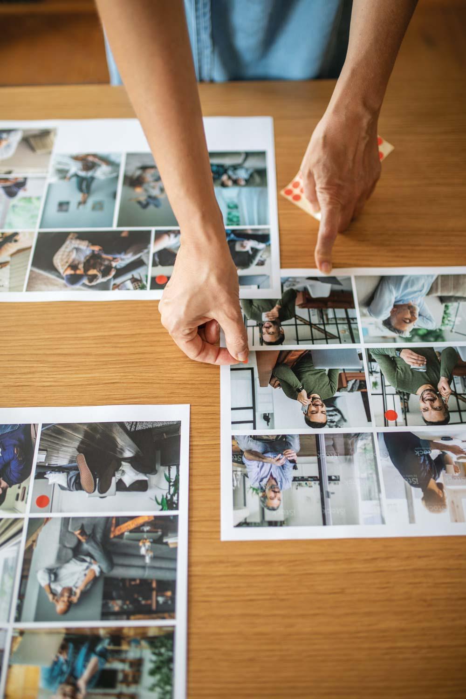 Bildauswahl auf Druckbogen